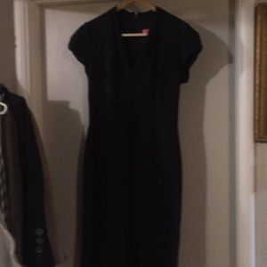 Black dress v neck with fitted waist